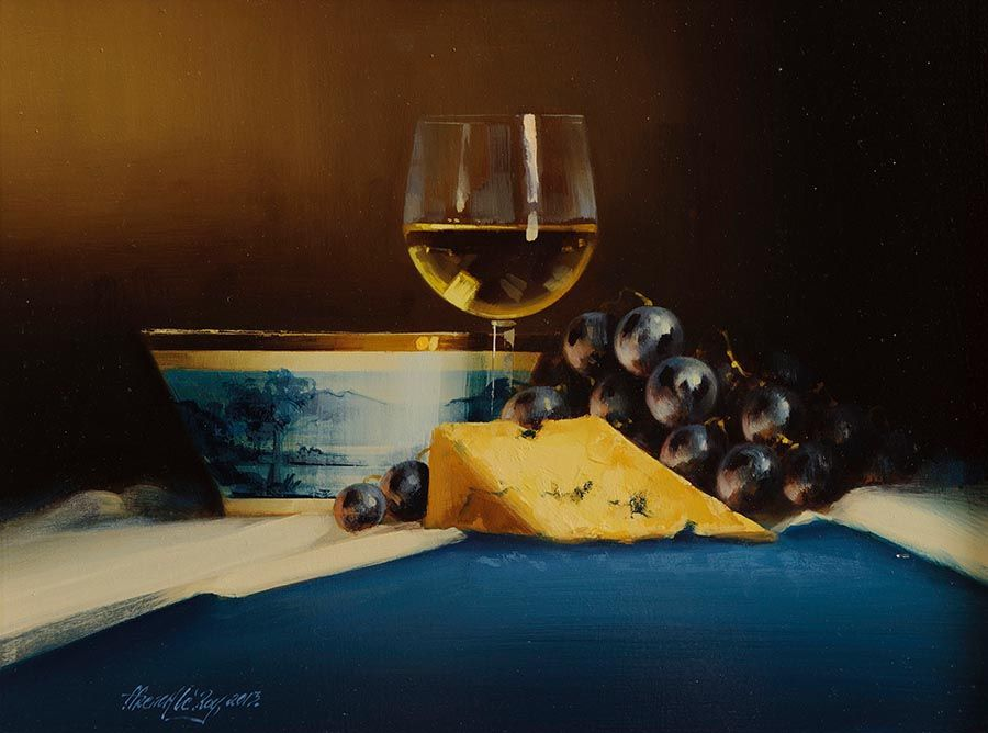 David Ffrench Le Roy (b.1971), Still Life With Chardonnay, Stilton and Grapes at Morgan O'Driscoll Art Auctions