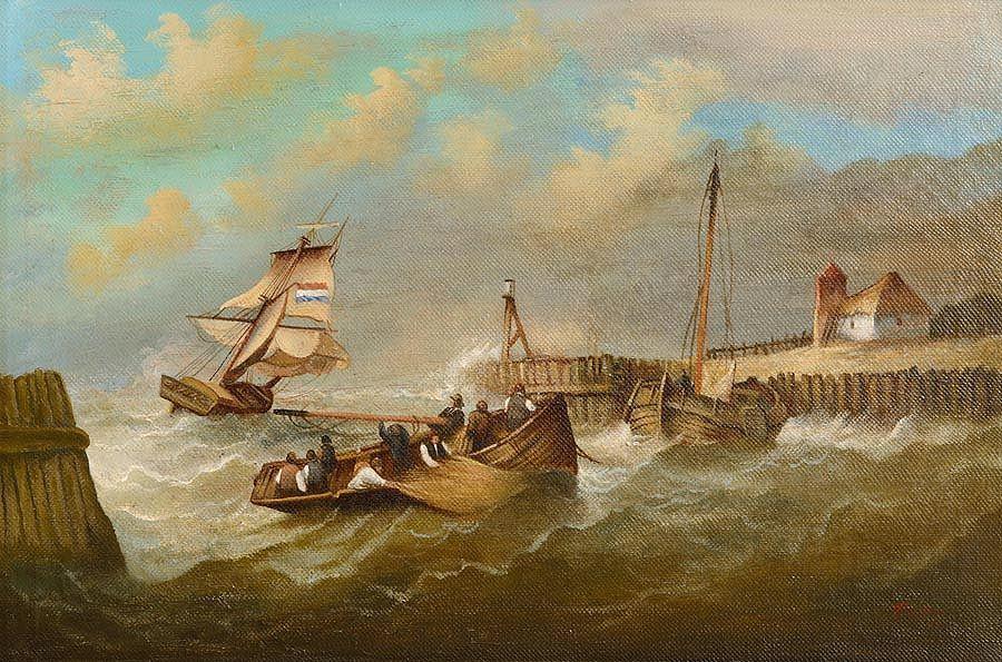 Thomas Bush Hardy (1842-1897) British, Harbour Scene at Morgan O'Driscoll Art Auctions