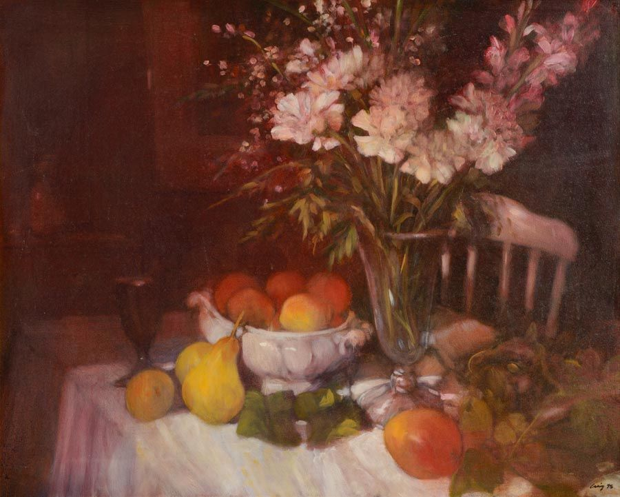 Philip Craig (b.1951) Canadian, Flowers in a Vase, With Peaches and Pears at Morgan O'Driscoll Art Auctions