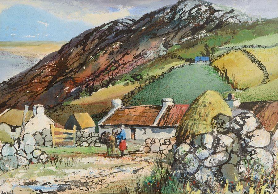 Kenneth Webb RWA FRSA RUA (b.1927), Cottages Atlantic Drive, Co Donegal at Morgan O'Driscoll Art Auctions