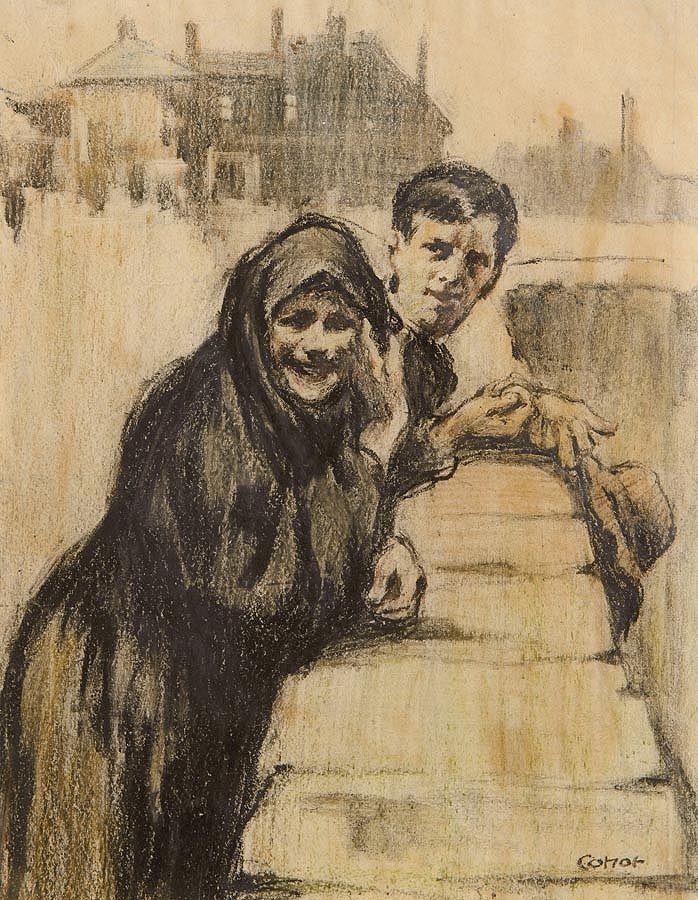 William Conor RHA RUA ROI (1881-1968), Courtin on the Bridge at Morgan O'Driscoll Art Auctions