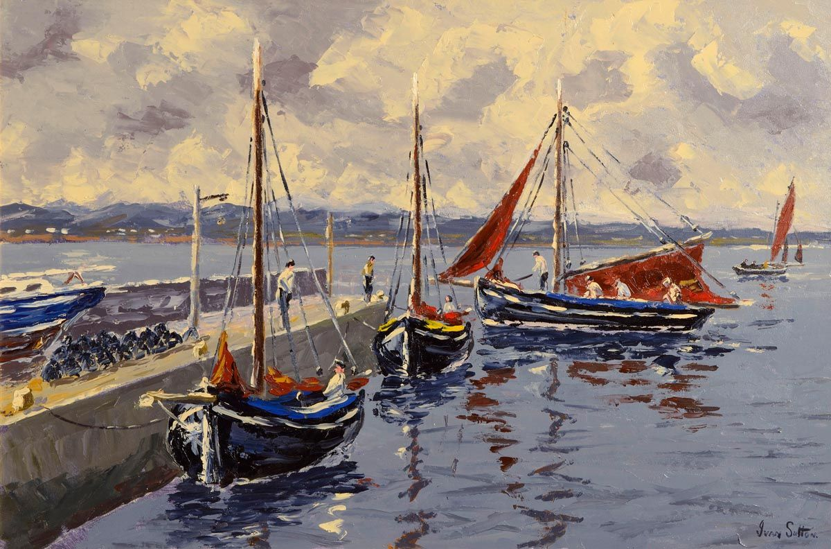 Ivan Sutton (b.1944), Galway Hookers at Carraroe Pier, Co Galway at Morgan O'Driscoll Art Auctions
