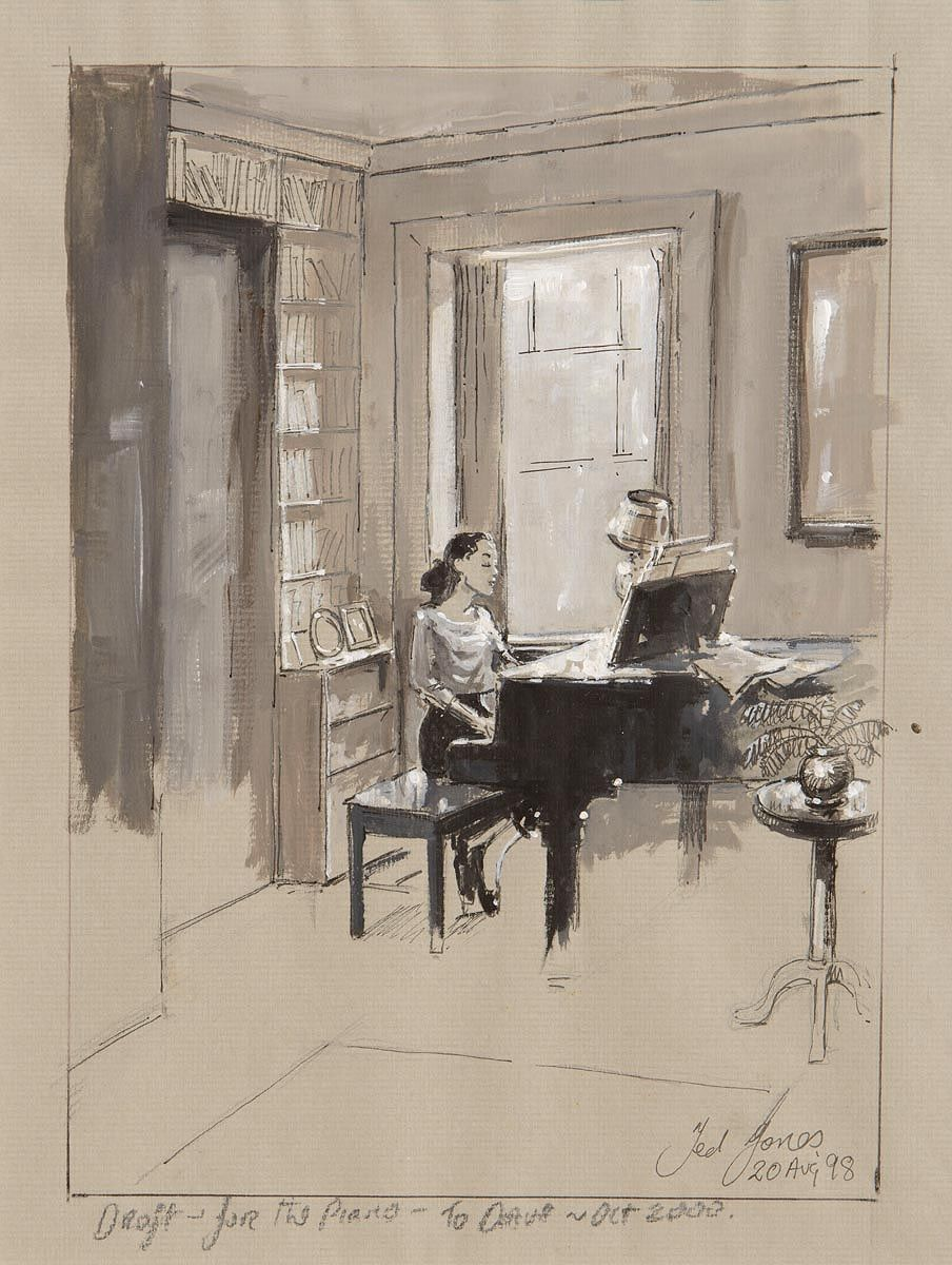 Ted Jones (b.1952), Draft of study for 'The Piano' at Morgan O'Driscoll Art Auctions