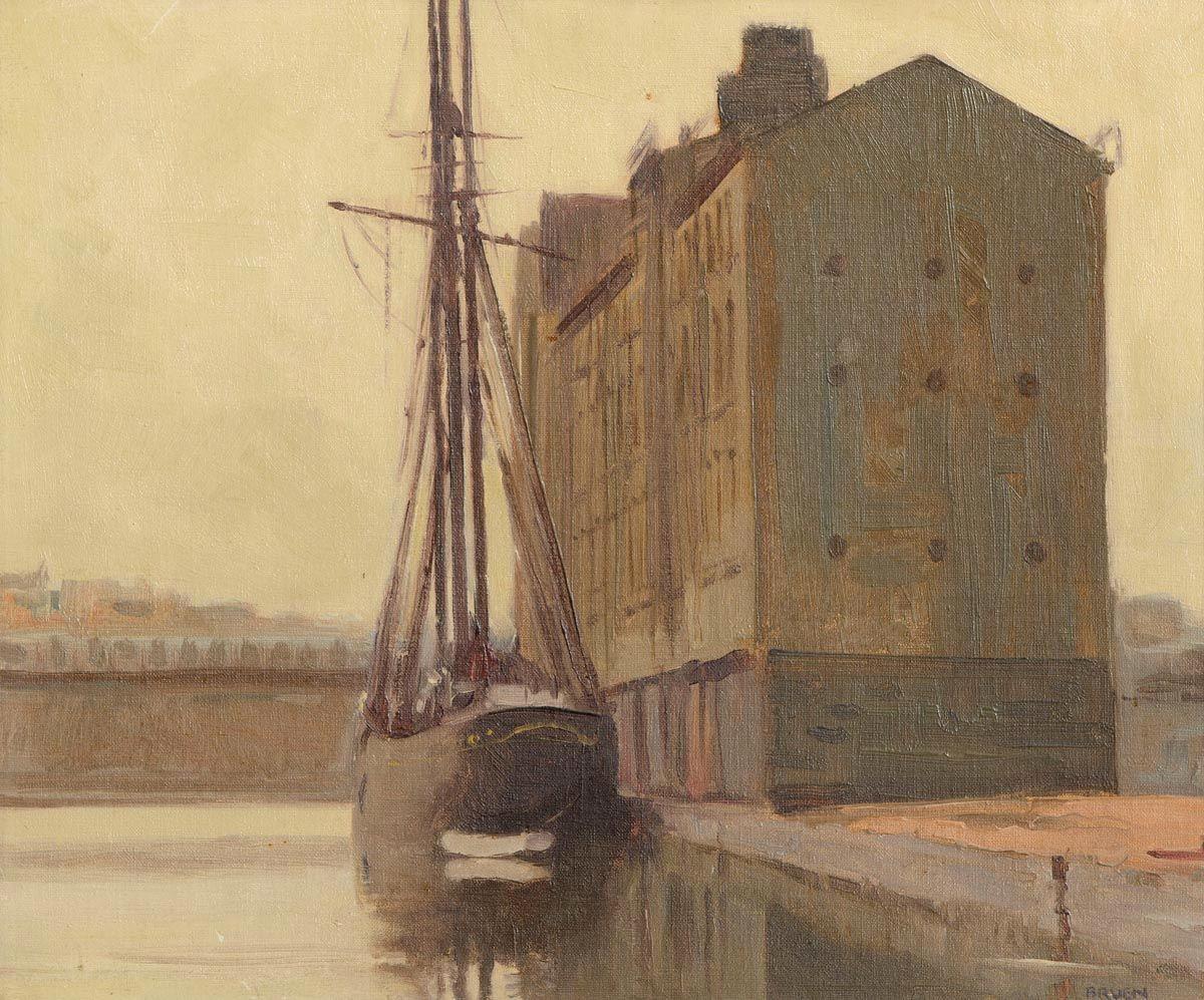 Gerald J. Bruen (1908-2004), Moored at the Grain Store at Morgan O'Driscoll Art Auctions