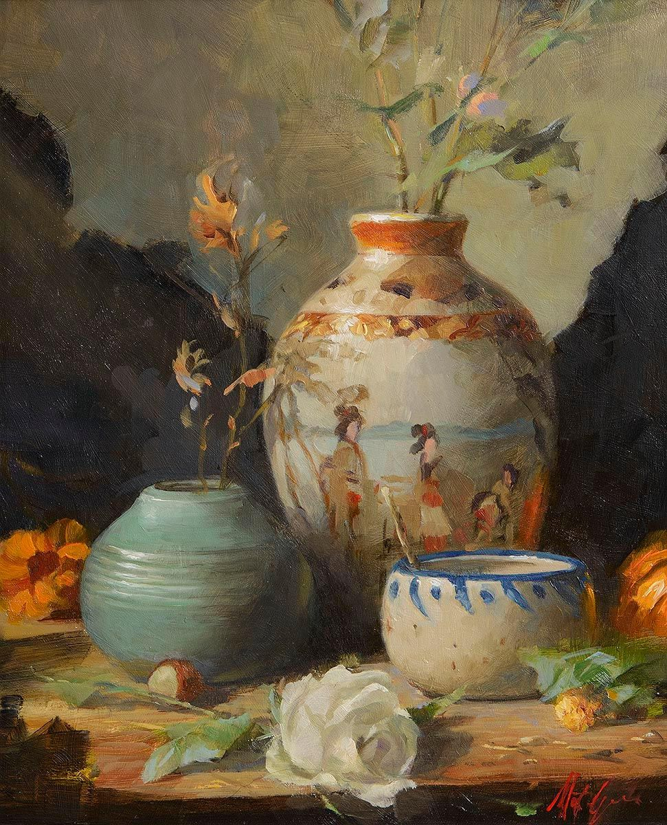 Lot 7 Still Life With Chinese Vase By Mat Grogan