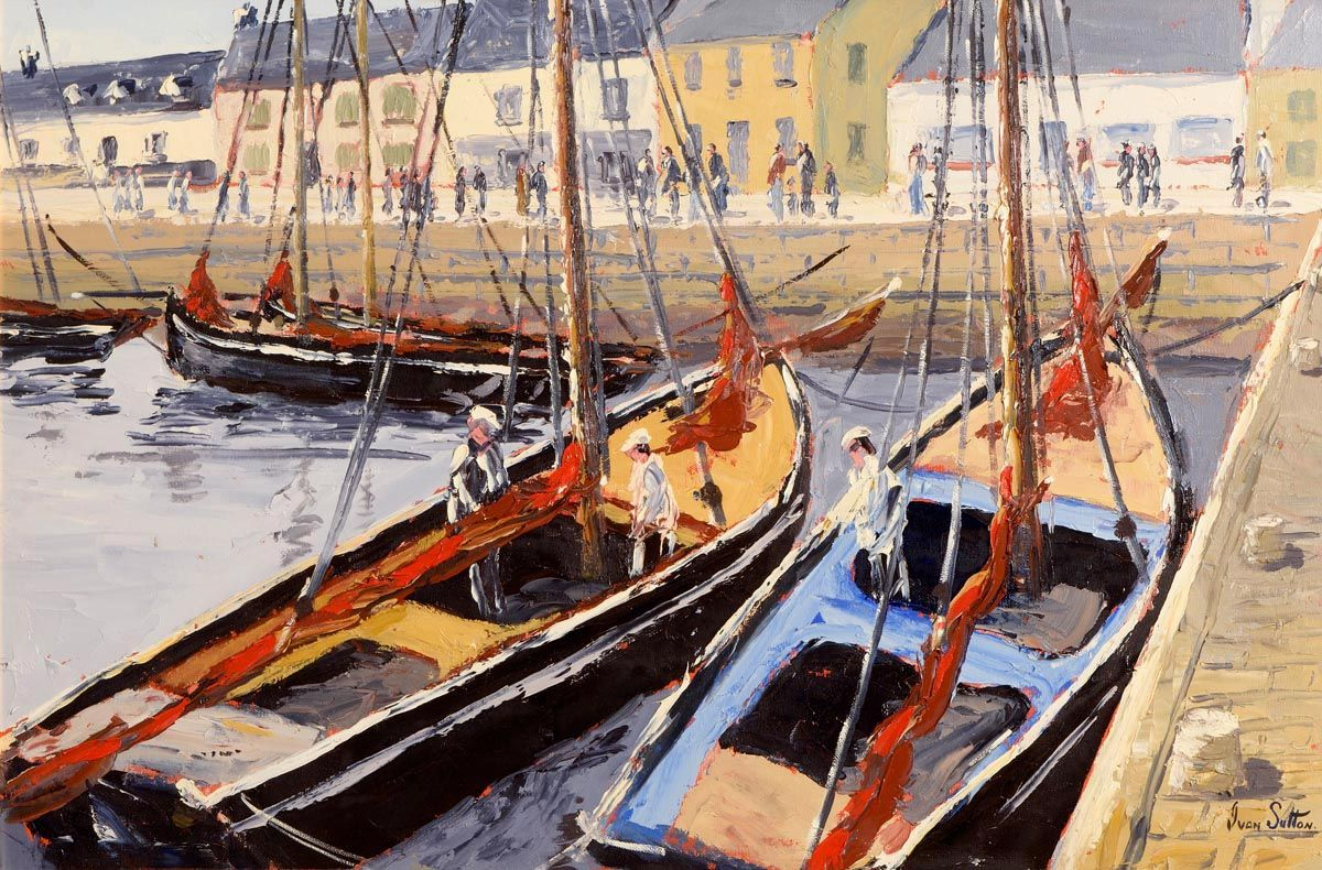 Ivan Sutton, Galway Hooker, Regatta Day, Kinvarra, Co. Galway at Morgan O'Driscoll Art Auctions