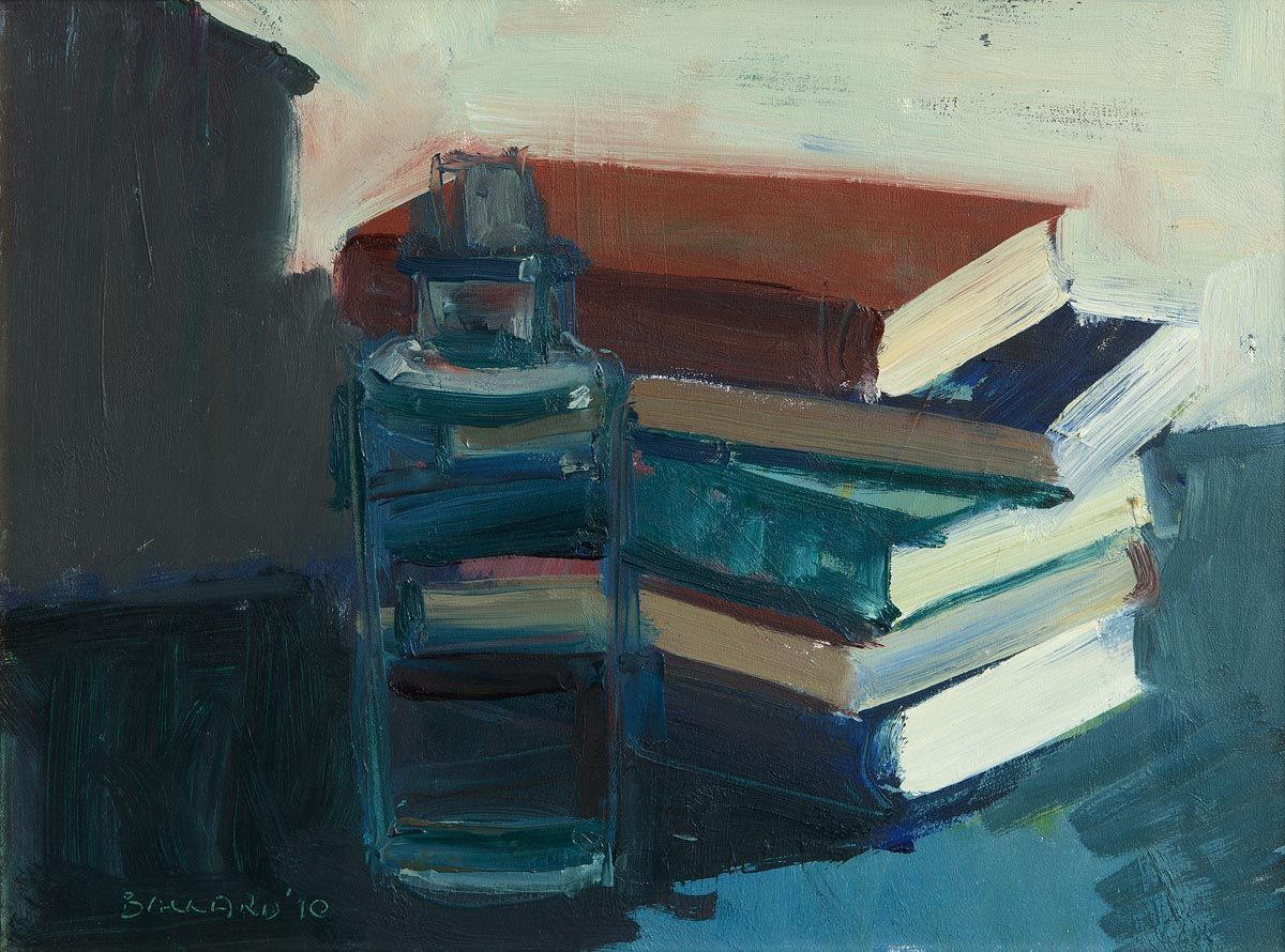 Brian Ballard, Still Life With Books and Bottle at Morgan O'Driscoll Art Auctions