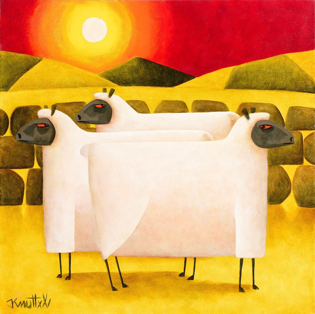 Graham Knuttel, Ewe's in the Sunset at Morgan O'Driscoll Art Auctions