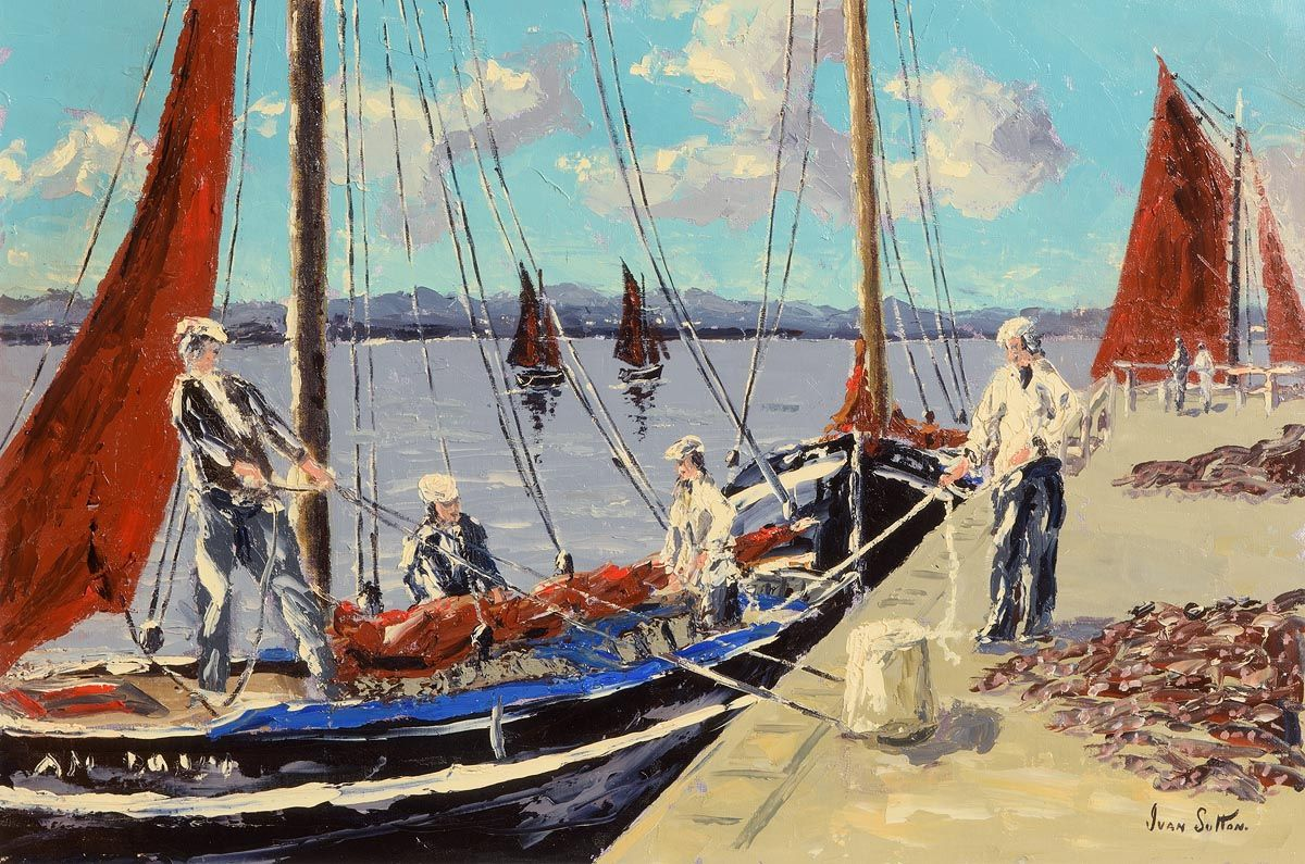 Ivan Sutton, Turf Boats, Galway Hookers, Carraroe Pier, Co. Galway at Morgan O'Driscoll Art Auctions
