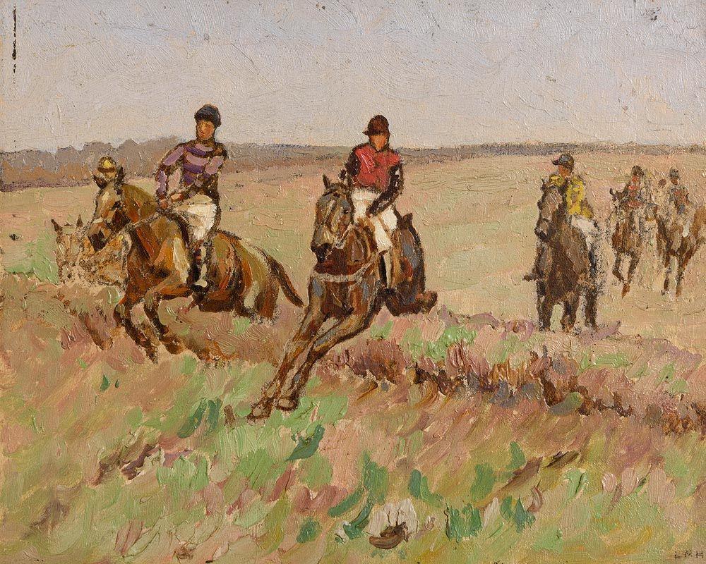 Letitia Marion Hamilton, A de Burgh Riding Golden Knot at Osberstown, Co. Kildare at Morgan O'Driscoll Art Auctions