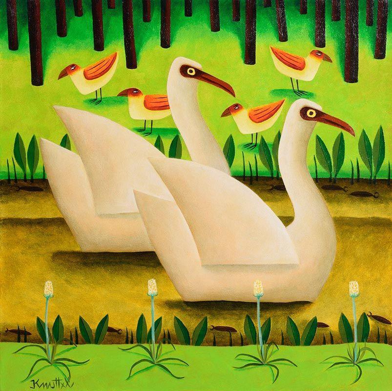 Graham Knuttel, Yellow Eyed Birds at Morgan O'Driscoll Art Auctions