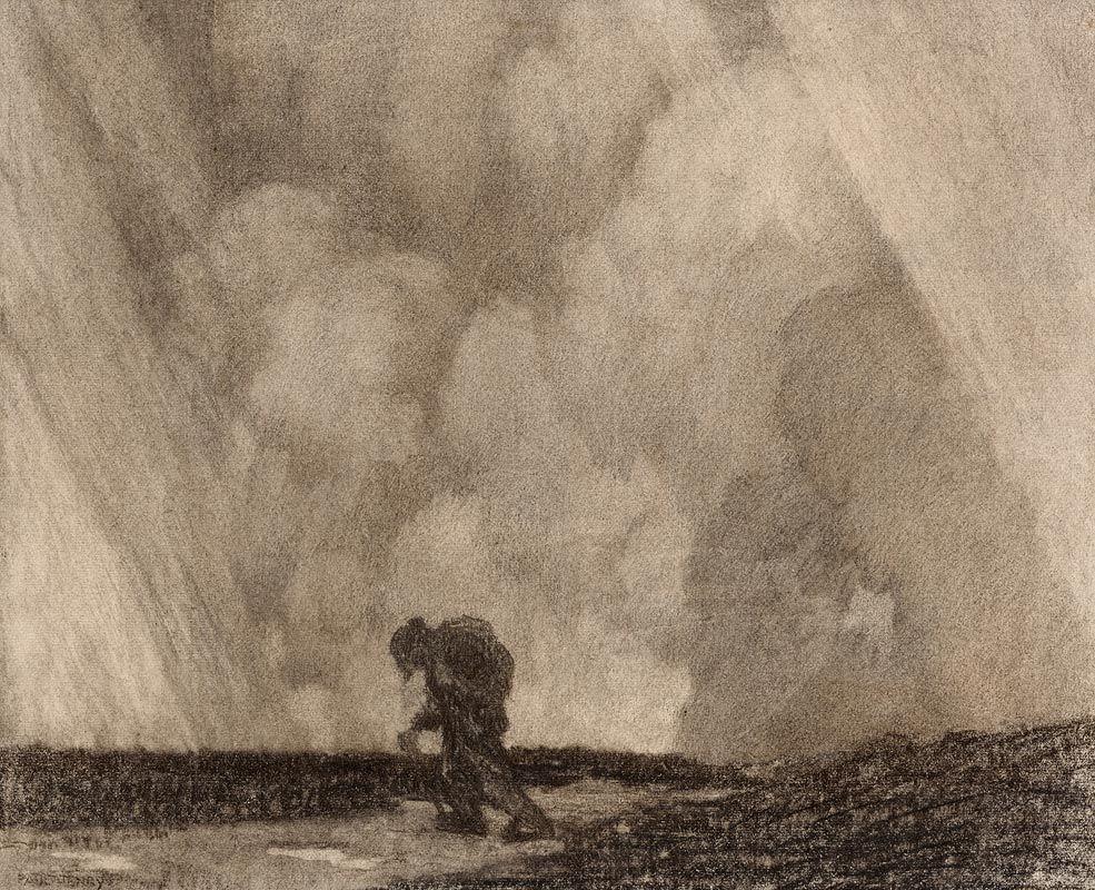 Paul Henry, Man Crossing the Bog (1910-1919) at Morgan O'Driscoll Art Auctions