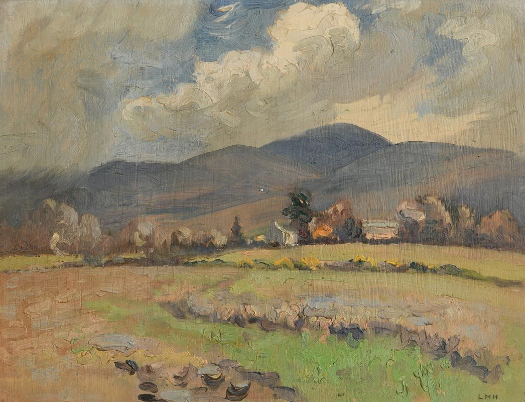Letitia Marion Hamilton, Glimpse of Houses and Trees on a Windy Day at Morgan O'Driscoll Art Auctions