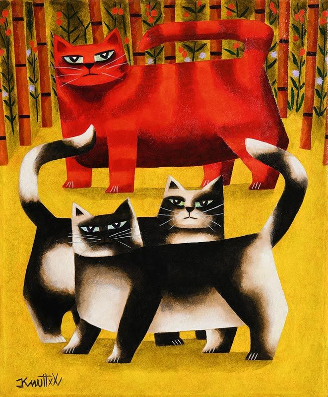 Graham Knuttel, Feline Threesome at Morgan O'Driscoll Art Auctions