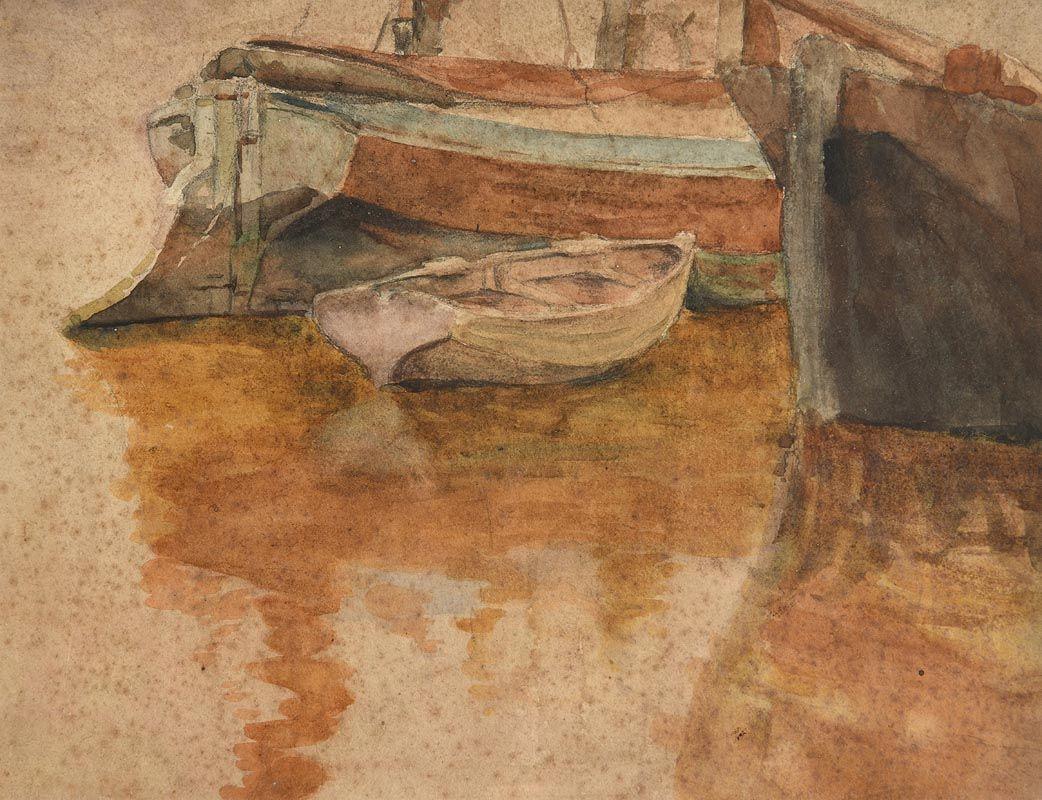 John Butler Yeats, Moored Boats at Morgan O'Driscoll Art Auctions