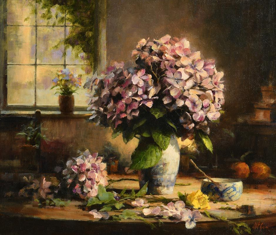 Mat Grogan, Hydrangeas with Yellow Rose at Morgan O'Driscoll Art Auctions