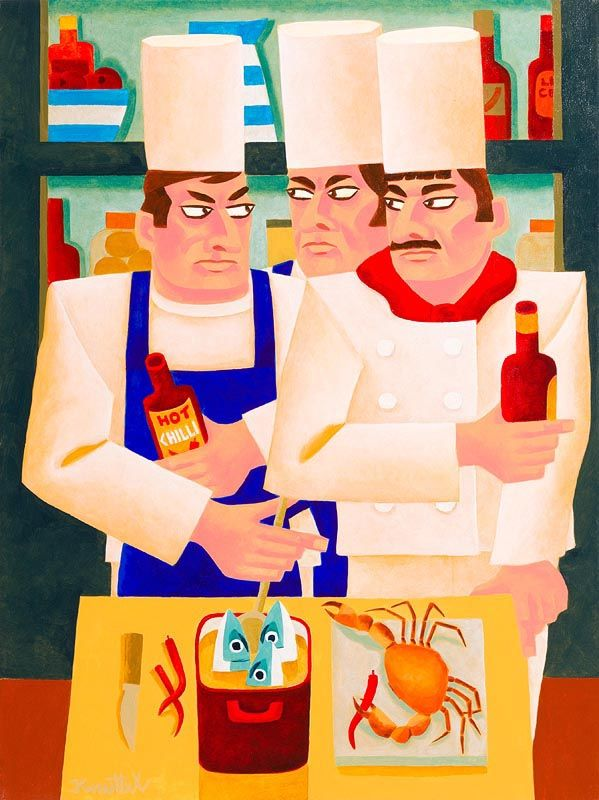 Graham Knuttel, Three Chefs at Morgan O'Driscoll Art Auctions