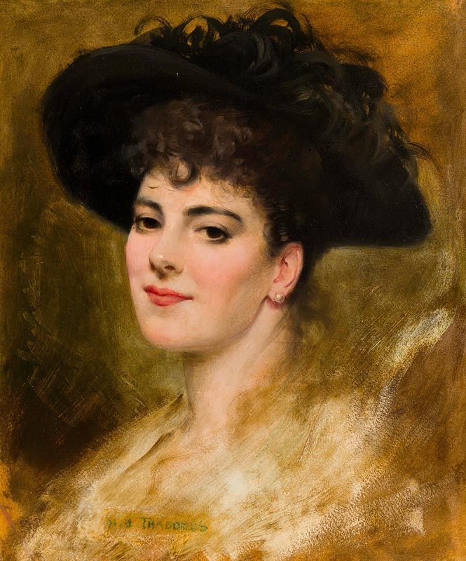 Henry Jones Thaddeus, Portrait of a Young Lady in a Black Feathered Hat at Morgan O'Driscoll Art Auctions