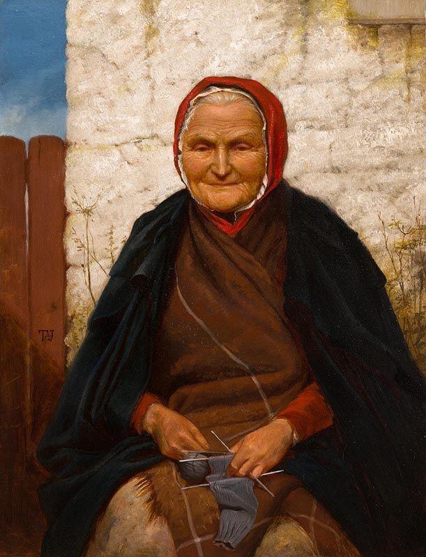 Sir Thomas Alfred Jones, Woman Knitting at Morgan O'Driscoll Art Auctions