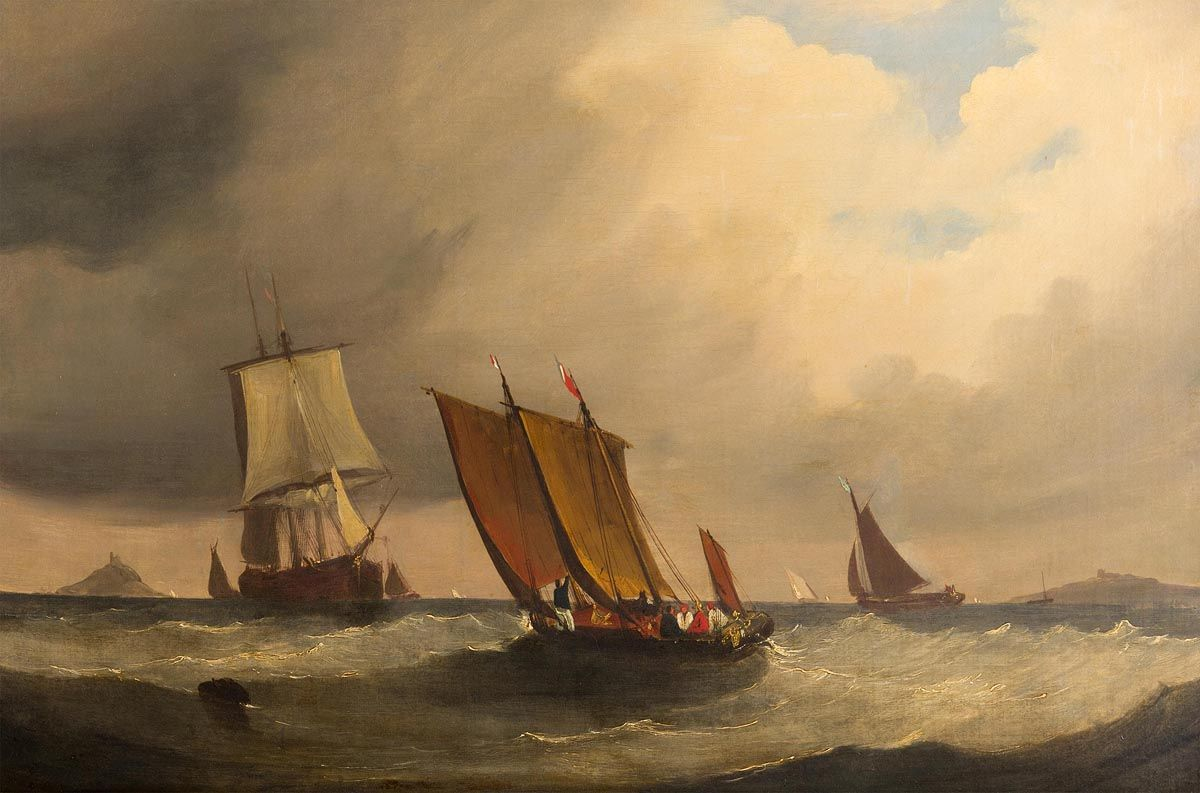 Frederick Calvert, Sailing Craft in Mount's Bay, Cornwall c.1825 at Morgan O'Driscoll Art Auctions