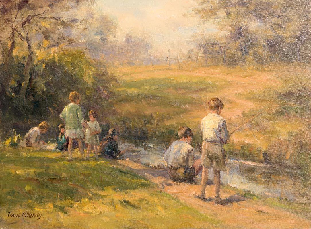 Frank McKelvey, Boys Fishing at Morgan O'Driscoll Art Auctions