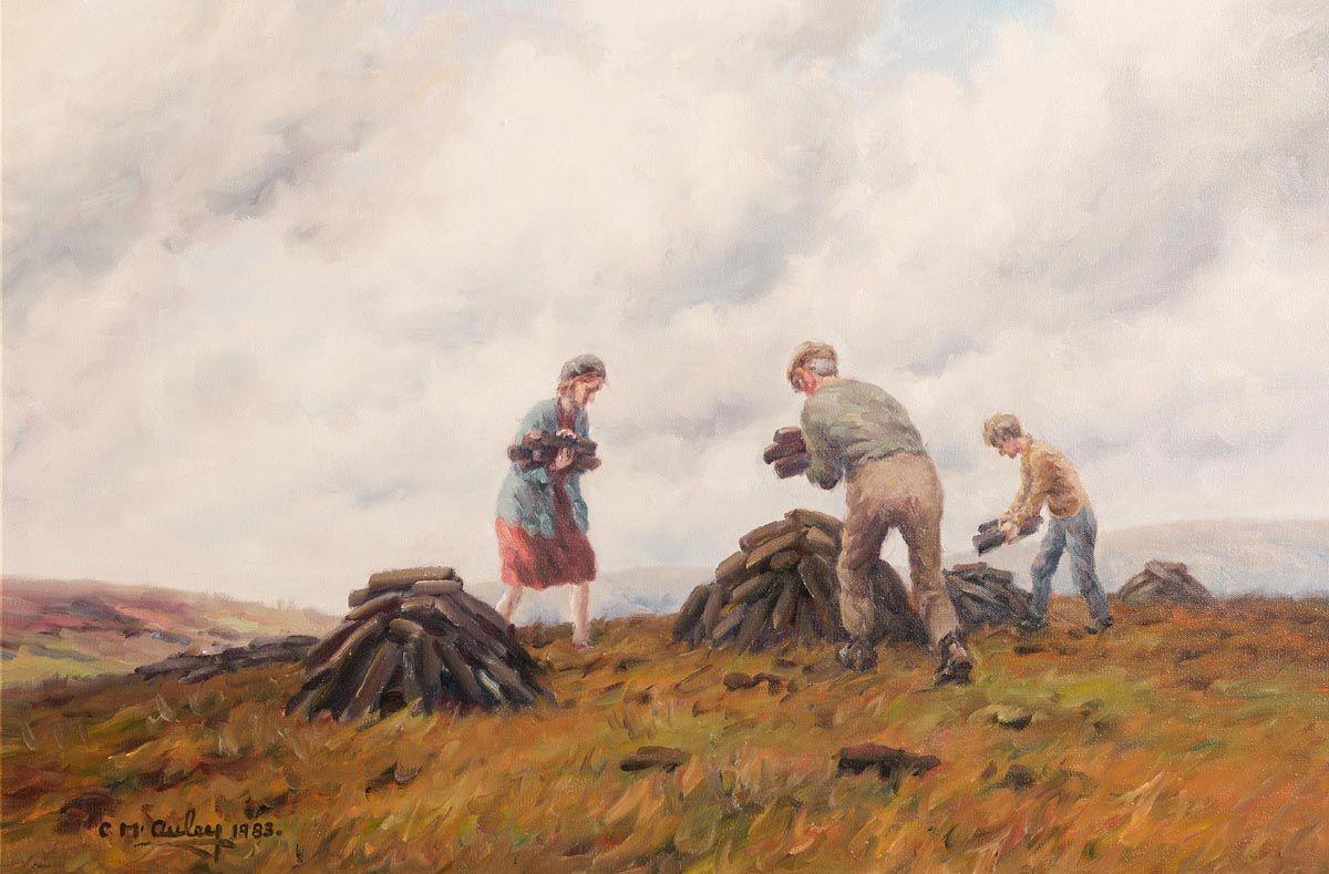 Charles J. McAuley, Everyone Helps with the Turf (1983) at Morgan O'Driscoll Art Auctions