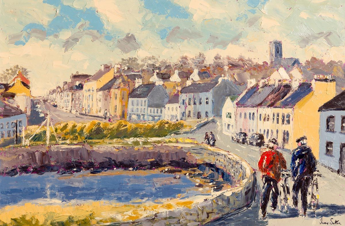 Ivan Sutton, Walking the Bikes, Roundstone Village, Co Galway at Morgan O'Driscoll Art Auctions