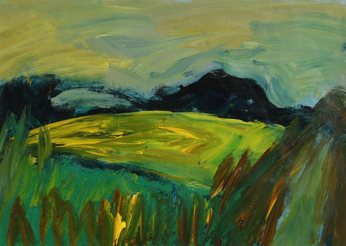 Nancy Wynne-Jones, Mayo Landscape with Yellow Fields 1999 at Morgan O'Driscoll Art Auctions