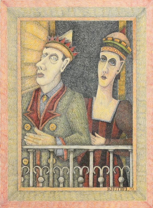 Graham Knuttel, The King and Queen of Dalkey (1989) at Morgan O'Driscoll Art Auctions