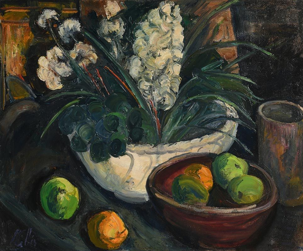 Peter Collis, Still Life - Flowers and Fruit at Morgan O'Driscoll Art Auctions
