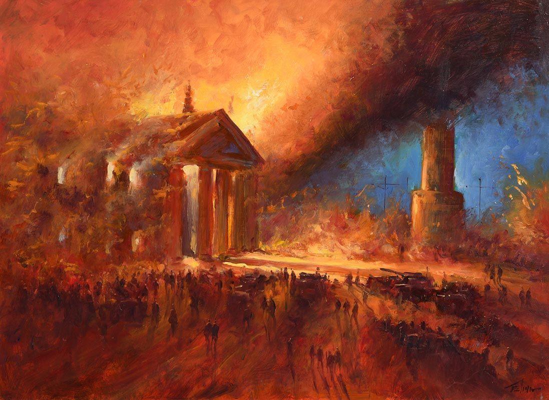 Norman Teeling, Dublin Burning at Morgan O'Driscoll Art Auctions