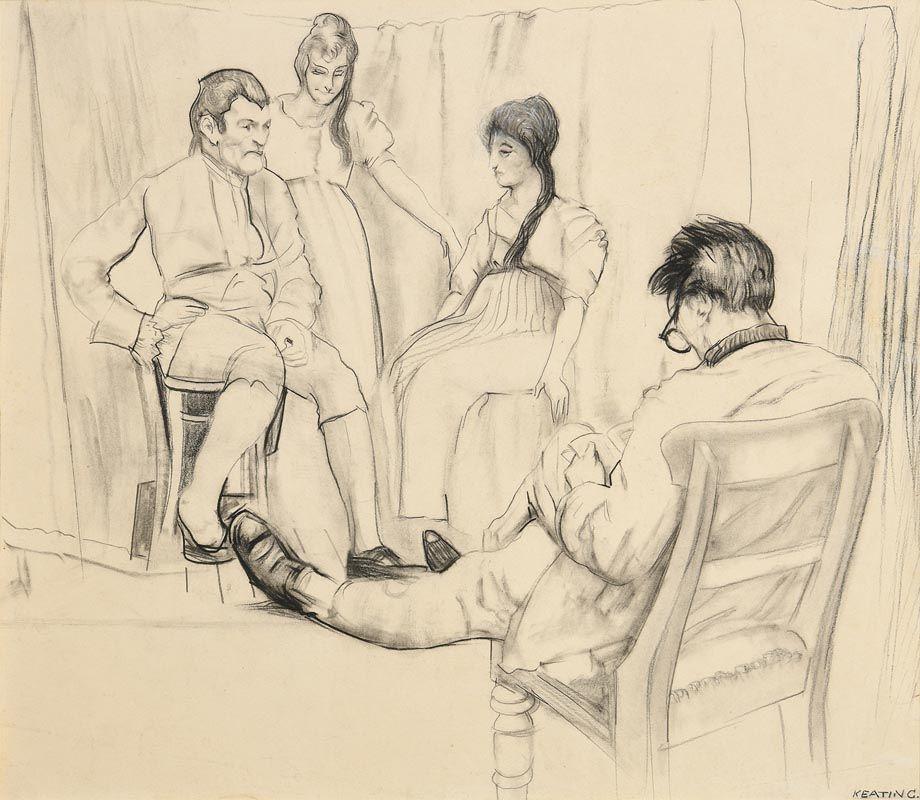 Sean Keating, Lennox Robinson Rehearsing the Abbey Players at Morgan O'Driscoll Art Auctions