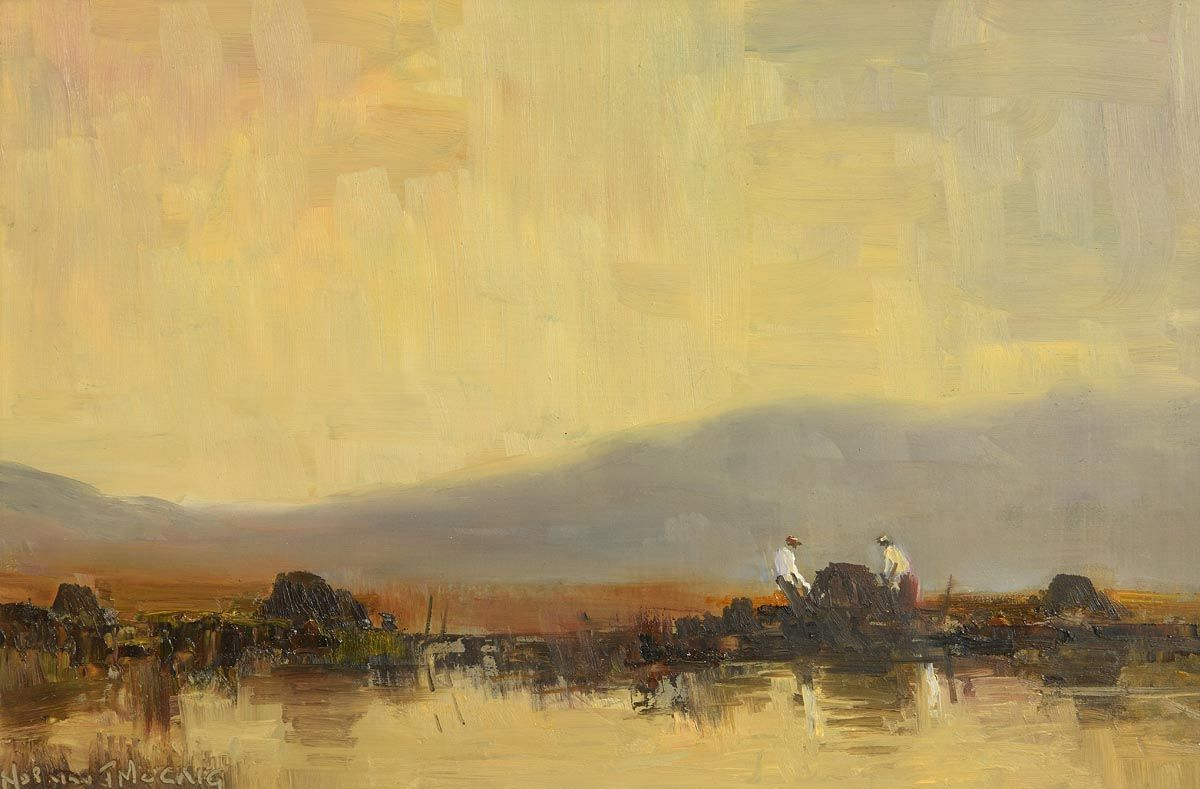 Norman J. McCaig, Stacking Peat at Morgan O'Driscoll Art Auctions