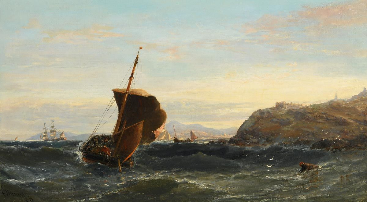 Edwin Hayes, Shipping Off the Headland (1886) at Morgan O'Driscoll Art Auctions