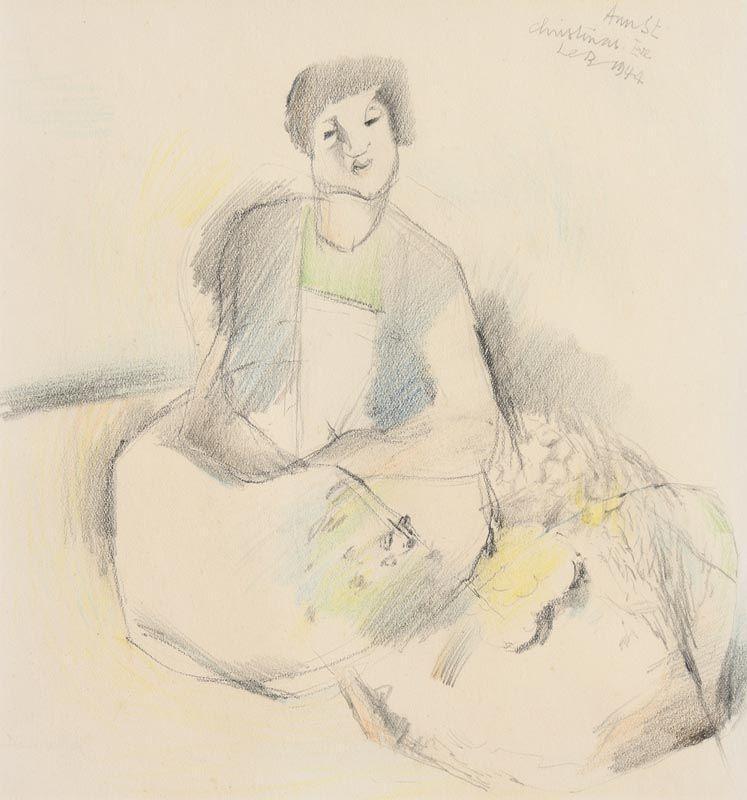 Louis Le Brocquy, Flower Seller Christmas Eve, Ann Street, Dublin 1944 at Morgan O'Driscoll Art Auctions