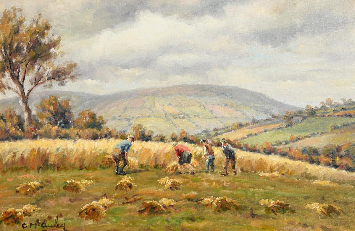 Charles J. McAuley, Harvesting in the Glens of Antrim at Morgan O'Driscoll Art Auctions