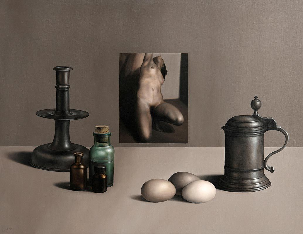Liam Belton, Pewter, Nude and Bottles (2018) at Morgan O'Driscoll Art Auctions