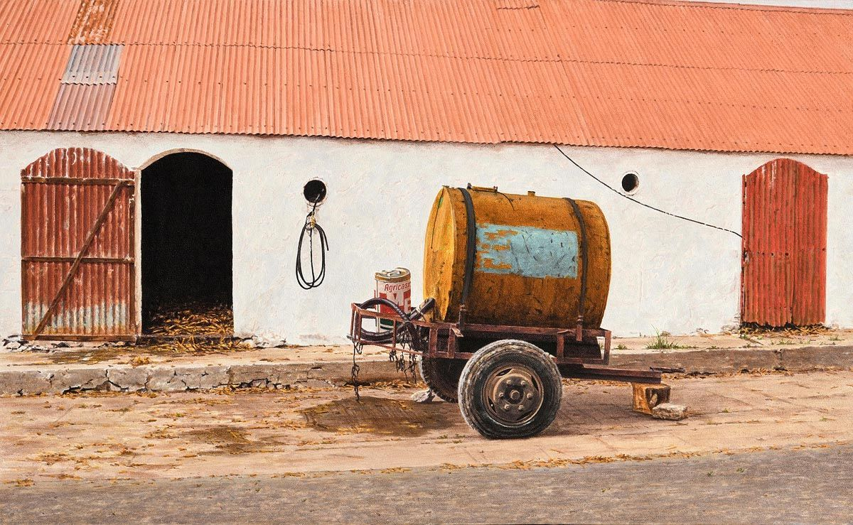 John Doherty, Trailer with Accessories, Farmyard, Dingle Peninsula (1985) at Morgan O'Driscoll Art Auctions