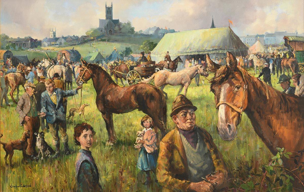 Kenneth Webb, Horse Fair, Ballinasloe at Morgan O'Driscoll Art Auctions