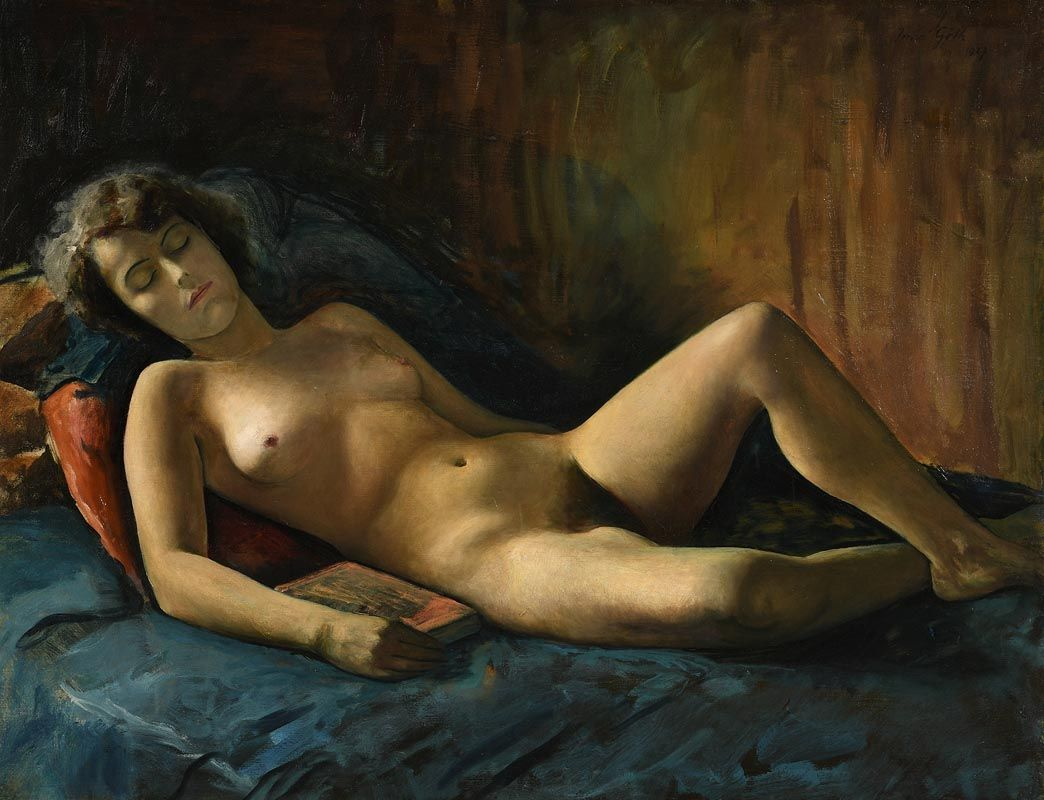 Reclining nude painting by christopher saliba