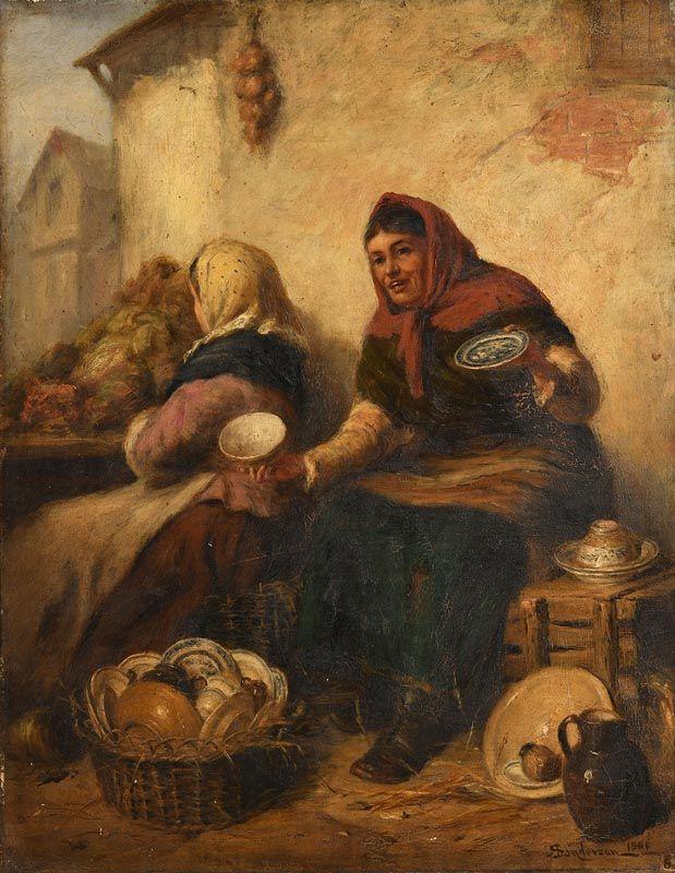 Robert Sanderson, Shawlie at the Market (1901) at Morgan O'Driscoll Art Auctions
