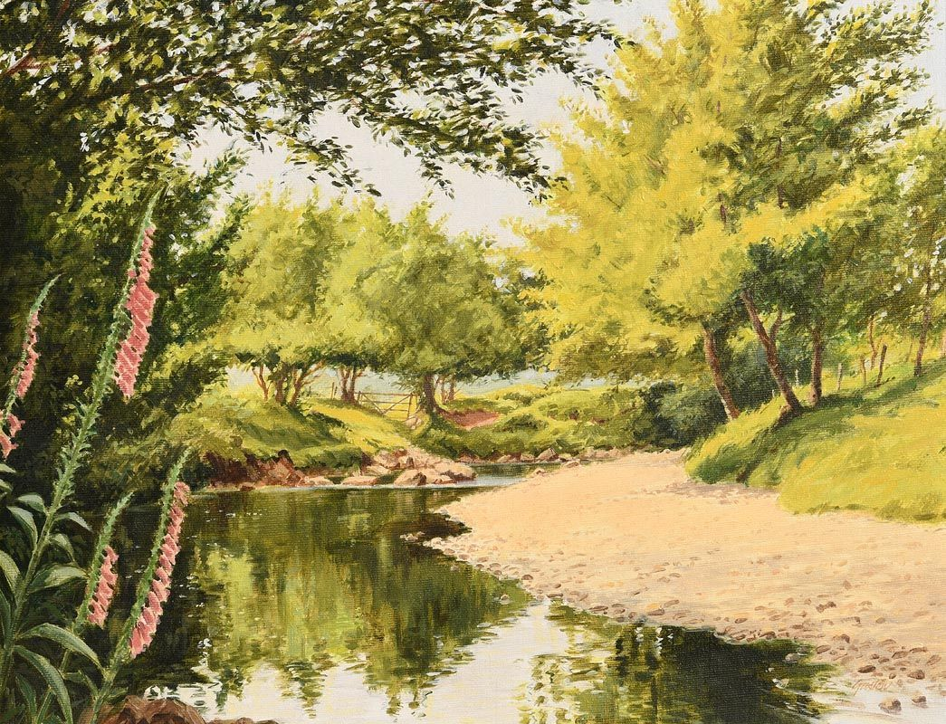 Roy Gaston, Fox Gloves on the Dun River at Morgan O'Driscoll Art Auctions