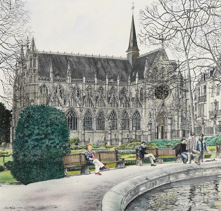John Walsh, Park Benches by the Cathedral (2008) at Morgan O'Driscoll Art Auctions