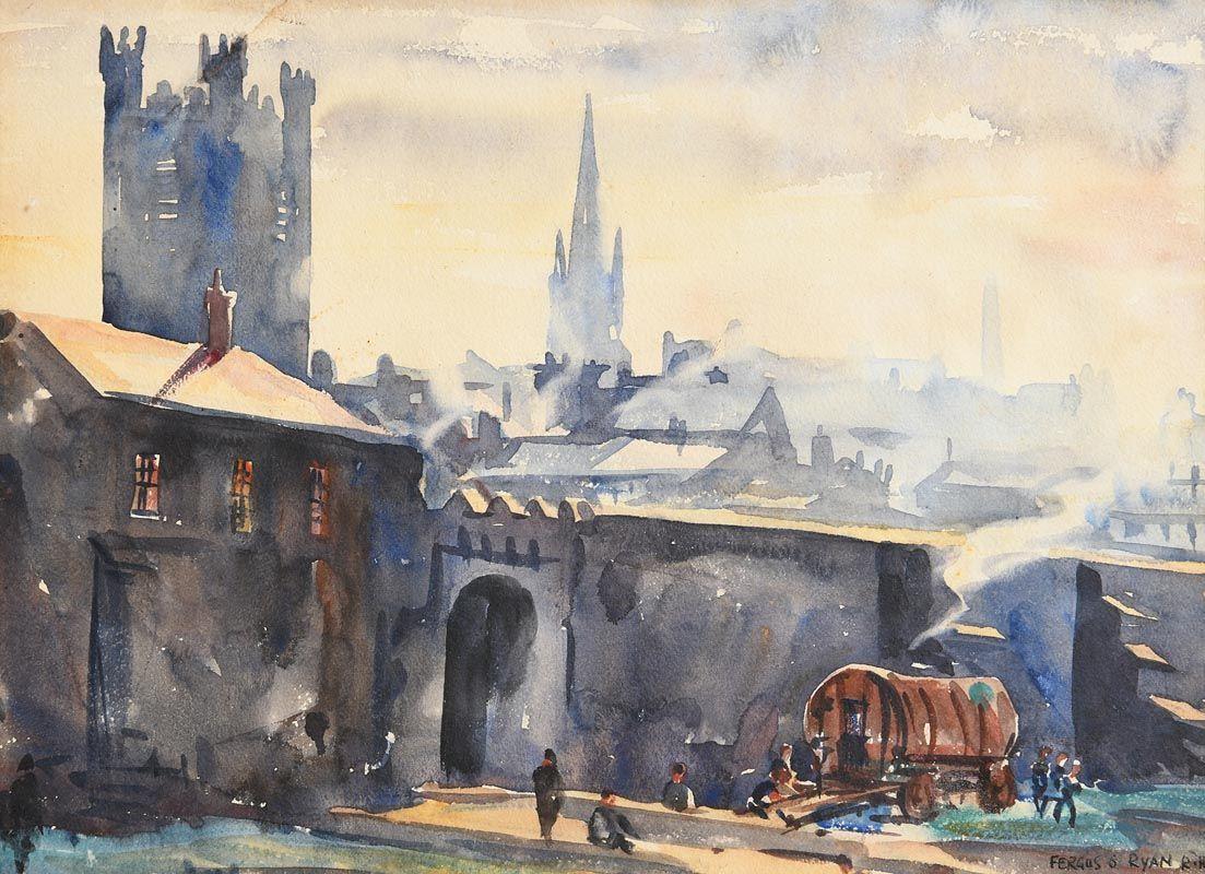 Fergus O'Ryan, St Audeon's Gate and Walls of Dublin at Morgan O'Driscoll Art Auctions