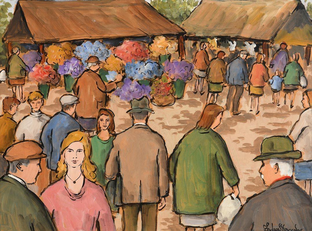 Gladys MacCabe ROI FRSA MA HRUA (1918-2018), The Market at Morgan O'Driscoll Art Auctions