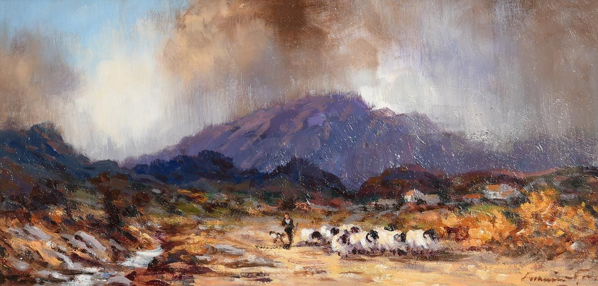 William Cunningham, Tending Sheep Near Muckish, Co. Donegal at Morgan O'Driscoll Art Auctions