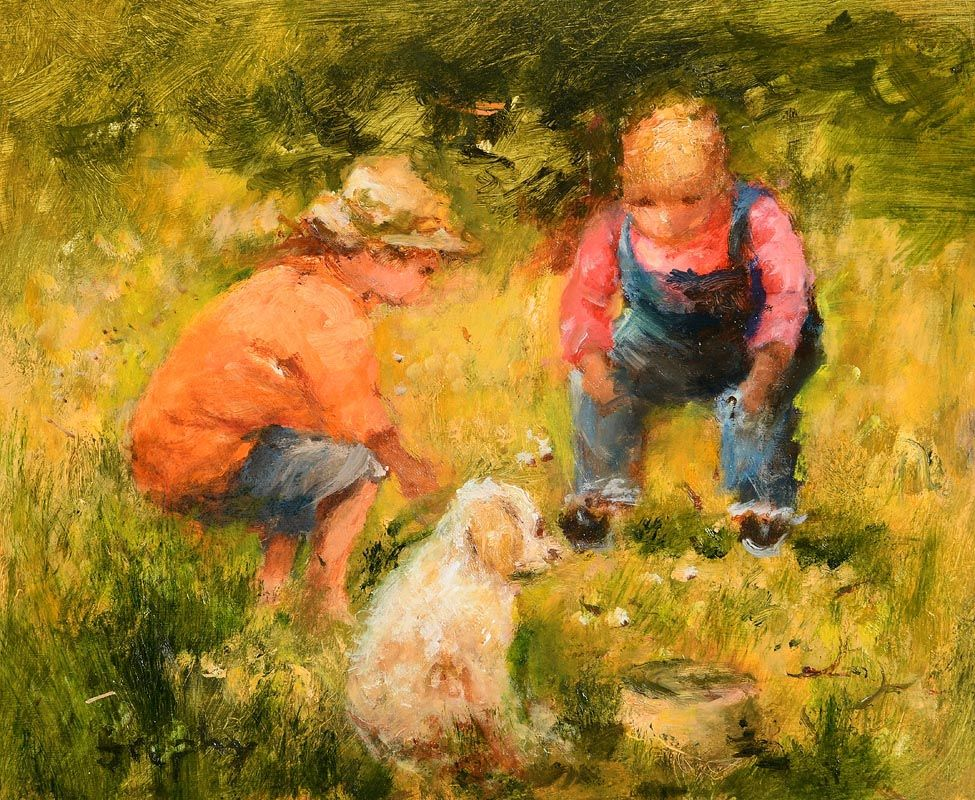 Elizabeth Brophy, Playing with Misty at Morgan O'Driscoll Art Auctions