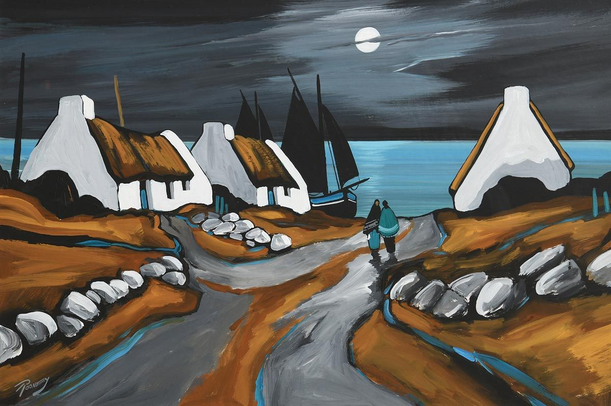J.P. Rooney, Coastal Cottages by Moonlight at Morgan O'Driscoll Art Auctions