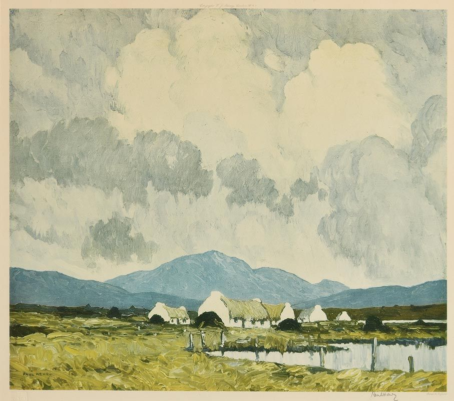Paul Henry, Cottages and Peat Stacks Connemara at Morgan O'Driscoll Art Auctions