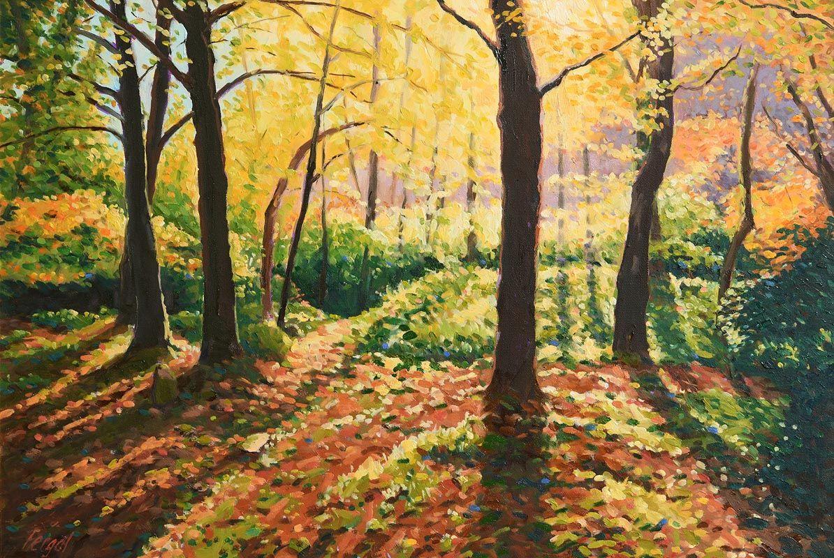 Fergal Flanagan, Autumn, Glendarragh Woods, Co. Wicklow at Morgan O'Driscoll Art Auctions
